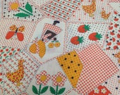 Vintage Fabric / Faux Crazy Quilt Fabric - 1 1/2 Yards - Vintage Yardage / Cherry Fabric / Strawberries / Faux Patchwork Fabric