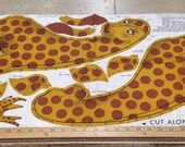 Vintage George the Giraffe Printed Cotton Panel - 1 Yard / 60s Kids Print / Stuffed Animal Panel / Cotton Children's Toy / Zoo Animal