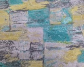 Vintage Fabric / 1950's Fabric / Cotton Fabric - 3/4 Yards - Blue Gray Yellow / Abstract Fabric / Atomic Fabric / Mid Century Fabric / Mod