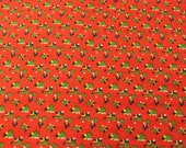 Vintage Calico Fabric / Red Fabric / Vintage Fabric - 1 7/8 Yards - Cotton Fabric / Red Green Floral / Small Print / Small Floral Print