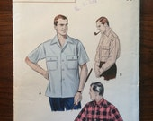 "Vintage Men's 1960s Butterick Shirt Pattern #6318 Neck 15 - 15.5"" - 1960s Butterick / Men's Shirt Pattern / Button Up Shirt Pattern"
