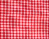 Vintage Red Cotton Gingham Fabric - 1 1/2 Yard - Gingham Yardage / Red Gingham / 1960s Fabric / 60s / Red and White Gingham