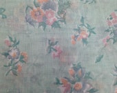 Vintage Poly Semi Sheer Floral Fabric 1 Yard / 1970's Fabric / Sheer Fabric / Floral Sheer / Polyester Floral Print / Pink Blue Floral