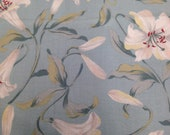 Blue and White Lily Fabric - 1 7/8 Yards - Blue Floral / Cotton Fabric / Lily Print / Quilting Cotton / Lily Print Cotton / Blue Fabric
