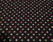 Dark Blue Small Flower Printed Vintage Cotton - Multiple Yards Available - Fabric by the Yard / Polka Dot Fabric /1970s Fabric /1970s Cotton