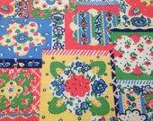 Vintage Fabric / Faux Quilt Fabric / Cotton Fabric -1 1/3 Yards- Floral Patchwork Fabric / Handkerchief Fabric / Bright Fabric / Blue Yellow