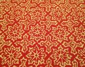 Red Geometric Tile Print Fabric - 1 Yard - Cotton Geometric / Red Cream Moroccan / Cotton Yardage / Square Cross Fabric / Repeat Design