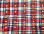 Vintage Red and White Floral Cotton Plaid - 1 Yard / Geometric Print / Stripes / Quilting Cotton / Plaid Print / Stripes Fabric / Floral