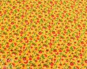 Vintage Floral Cotton - 1 2/3 Yard -  Fabric Yardage / Yellow Floral / Cotton Fabric / Floral Print / Red and Yellow / Red Vintage