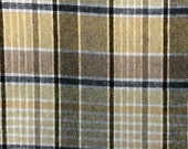 Vintage Plaid 100% Wool Fabric  -1 1/8 Yards- Plaid Wool / Brown Taupe Plaid / Plaid Fabric / Vintage Plaid / Vintage Wool Plaid