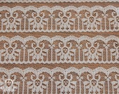 Nylon Lace Fabric - 1 3/8 Yard - Lace Yardage / Lace Fabric / Ecru Lace / Nylon Lace / Apparel Lace / Lace by Yard / White Lace / Lace Piece