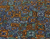 Vintage Fabric / 1950's Fabric / Cotton Fabric -1 2/3 Yards- Floral Fabric / Tile Fabric / Blue Brown Fabric / Mid Century Fabric / Mod