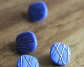 Blue Glass Vintage Buttons - Four/ 1930s Buttons / Vintage Glass Buttons / Vintage Sewing Notions / Vintage Sewing Supplies / 1940s Buttons