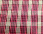 Plaid Fabric - 7/8 Yard  - Red Plaid / Tan Fabric / Burgundy Plaid / Yard Dyed Fabric / Fabric by the Yard / Yardage