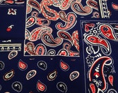 Vintage Fabric / Handkerchief Fabric / Faux Patchwork - 1 3/8 Yard - Red Navy White / Navy Paisley Fabric / Rayon Blend / Navy Red Paisley