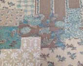 Faux Patchwork Print Vintage 1970s Cotton Fabric - 1 Yard - Vintage Fabric / Vintage Patchwork / 1970s Floral Fabric / Teal Brown Tan
