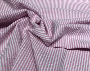 Cotton Seersucker Fabric / 100% Cotton Seersucker in Pink and White  / By the Yard