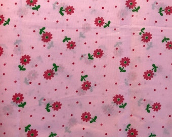 Vintage Cotton/Poly Blend Pink, Red and Green Floral Print - By the Yard