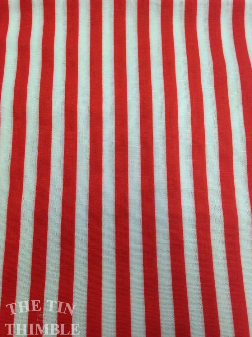 Red And White Stripe Fabric Cotton Fabric 1 14 Yards Etsy