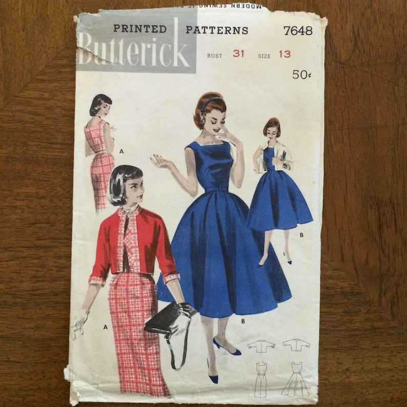Vintage 1950's Butterick Dress & Jacket Pattern 7648  image 0