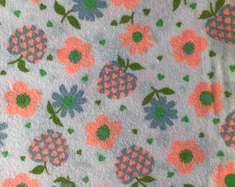 """Authentic Vintage Flannel - Thick and Soft with Floral Print - 2 7/8 Yard Piece x 35"""" Wide"""