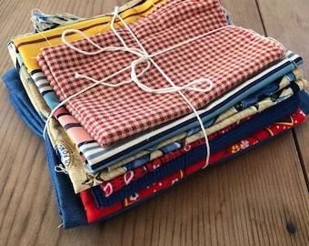 Fabric Scrap Bundle / Vintage and New Fabric Scraps / Red and Blue Fabric Destash Grab Bag / SB246