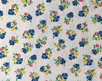 """Vintage Floral Printed Kettle Cloth - 100% Cotton - Blue, Red, Yellow and Green Floral Print - 43"""" Wide Sold by the Yard"""