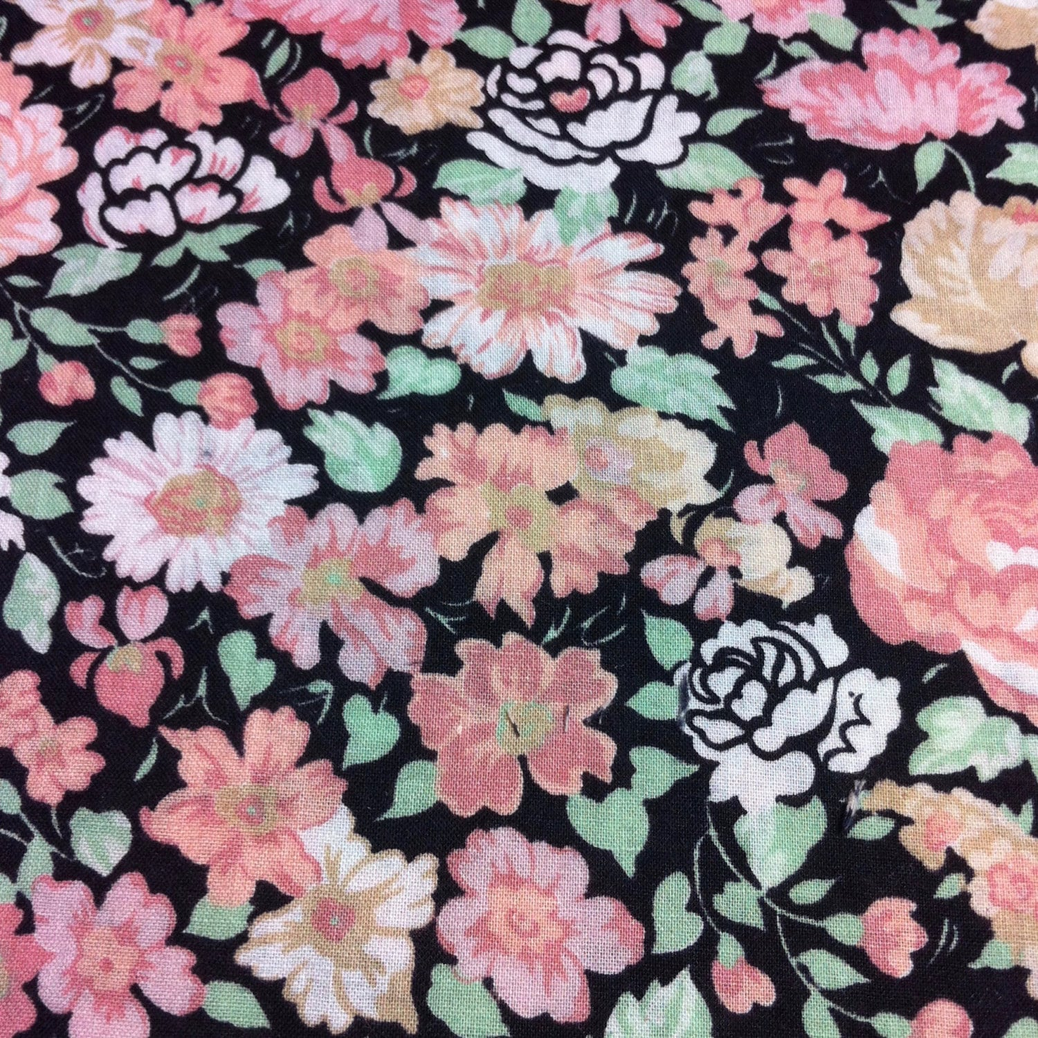 Vintage 80s Pastel Pink And Black Floral Print Fabric 1 Yard Etsy