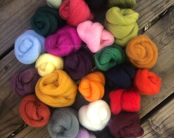 Mixed Corriedale Wool Roving Pack - 3.25 oz Total - 25 Colors in Small Quantities for Felting and Crafts