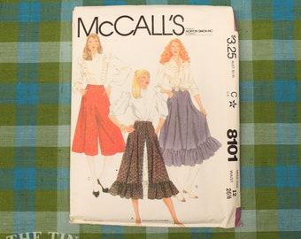 Vintage Sewing Pattern / Women's Culottes Pattern / McCall's 8101 / Waist 26.5 / Ruffle Pants Pattern / Culotte Pants Pattern / QUICK LIST
