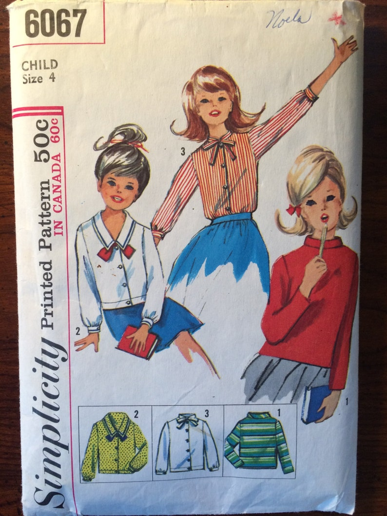 fbe20a88599 1960s Simplicity Girl s Blouse Pattern 6067 Size 4 Breast