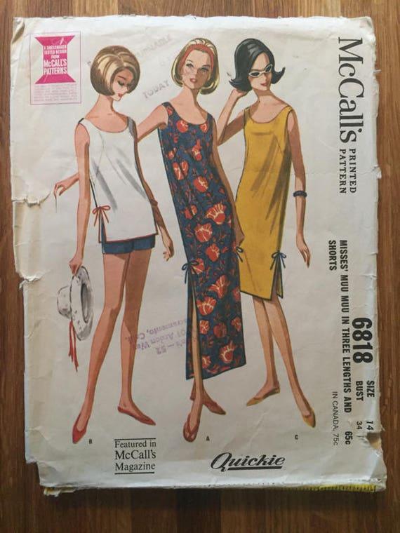Schnittmuster / Muu Muu Muster / McCall 6818 / 1960er Jahren | Etsy