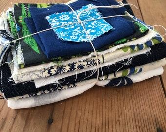Fabric Scrap Bundle / Vintage and New Fabric Scraps / Blue and Green Fabric Destash Grab Bag / SB254