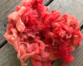 Hand Dyed Mystery Wool Fiber for Needle Felting, Wet Felting, Weaving and Crafts - Coral Pink - 1 Ounce