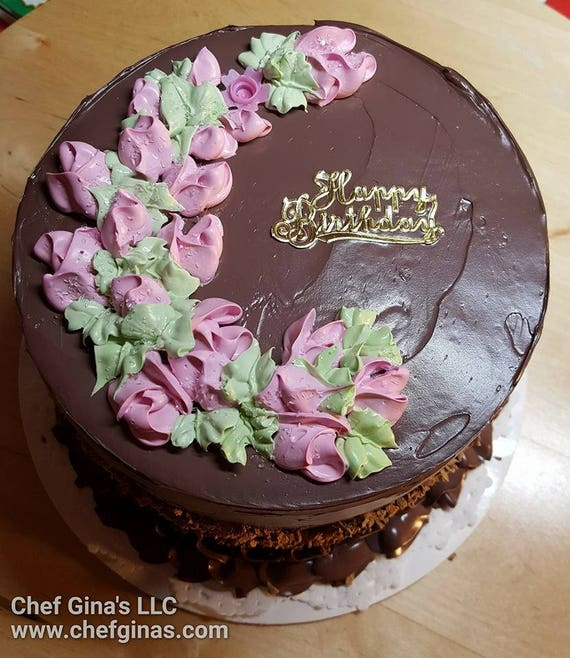 Fake Cake Happy Birthday Chocolate Cake With Nuts Party Decor Etsy