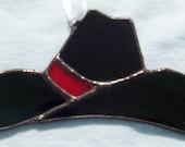 Stained glass cowboy hat suncatcher black hat sun catcher country Christmas ornament