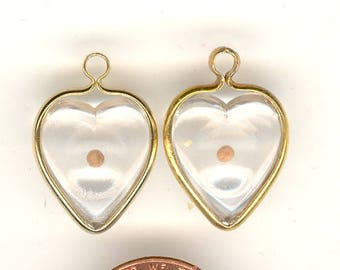 2 Vintage Mustard Seed Heart Charms In Lucite With Gold Tone Metal Loop 17mm Excluding Loop No.117I
