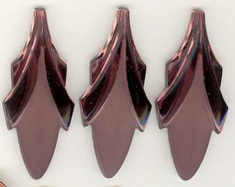 6 Lg Elegant Frost & Shiny AMETHYST LEAF Art Deco Vintage Glass Cabochons or Pendants 45x19mm