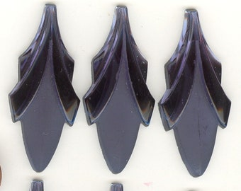 6 Lg Elegant Frost & Shiny MONTANA BLUE LEAF Art Deco Vintage Glass Cabochons or Pendants 45x19mm