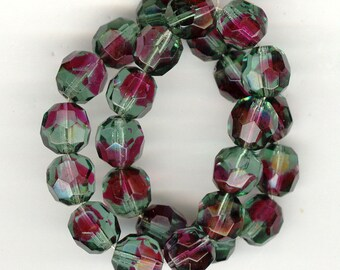 25 Stunning Vintage Germany US Zone TOURMALINE RUBY Givre Faceted Glass Beads 10mm No.325I