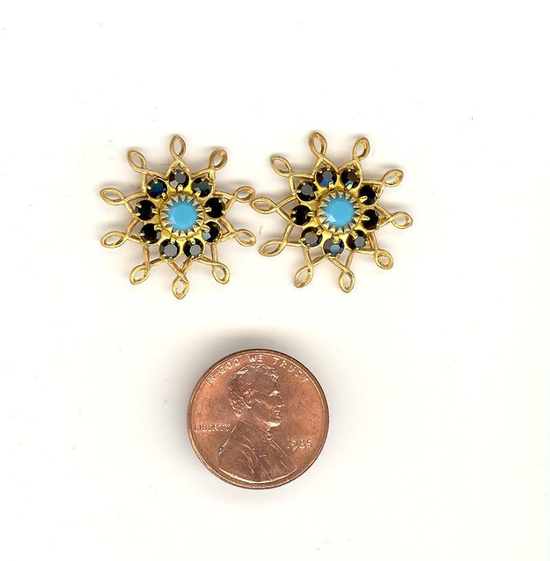 2 Vintage Swarovski Crystal Flower Charms Jet Black & Turquoise Rhinestone  Brass Filigree Flowers For Dangles 22mm RS105