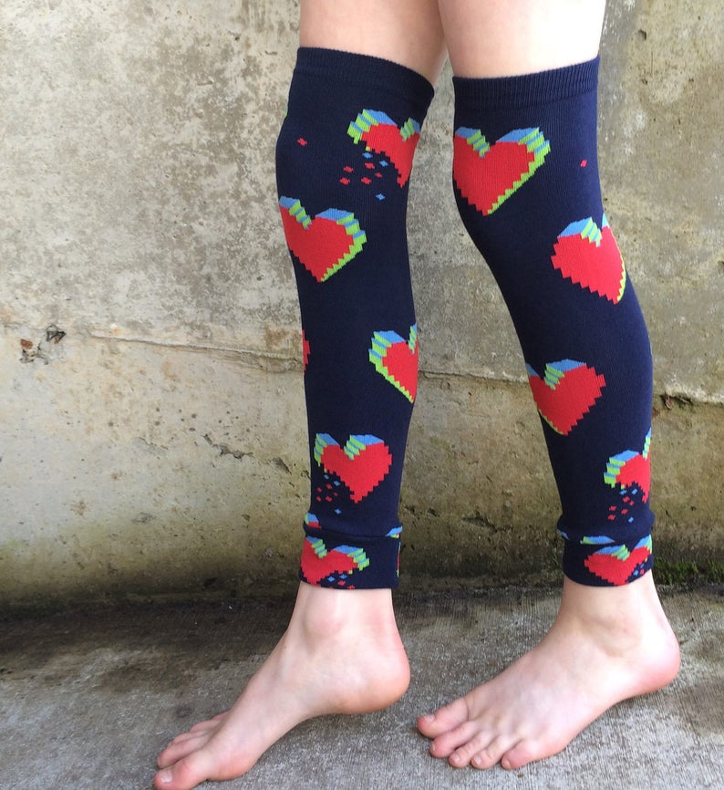 Minecraft Inspired Pixel Heart Valentine Leg or Arm Warmers image 0