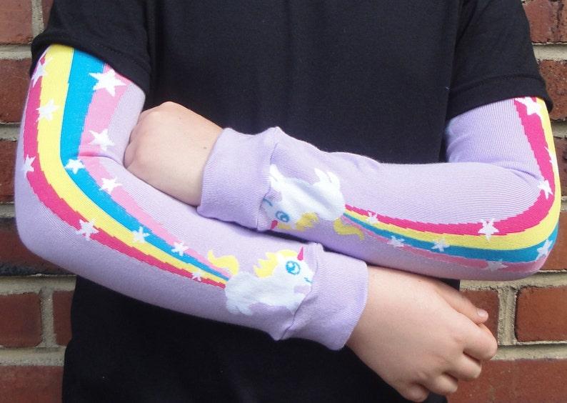 Rainbow Farting Unicorn Leg or Arm Warmers Boys Girls  image 0