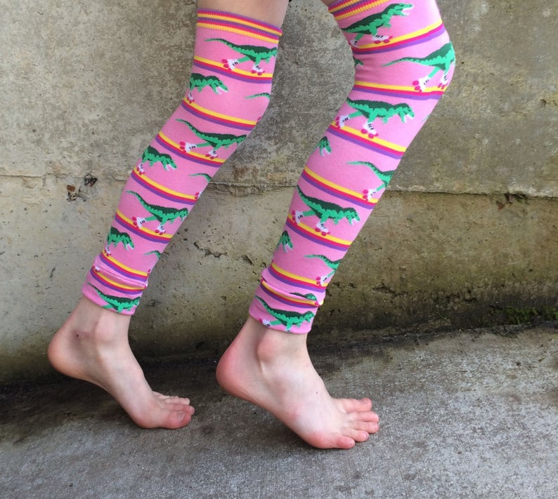 Roller Skating Dinosaur Leg or Arm Warmers for Boys and Girls image 0