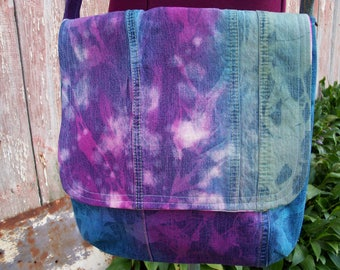 Upcycled Denim Messenger Bag Purse with Pink Floral Vintage Fabric Lining ooak