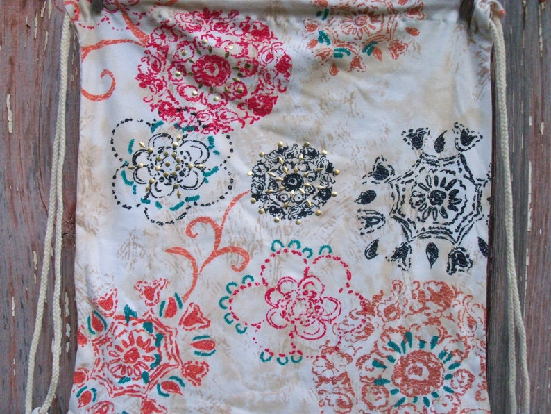 17x18 Studded Floral Handmade Drawstring Backpack upcycled Recycled t-shirt