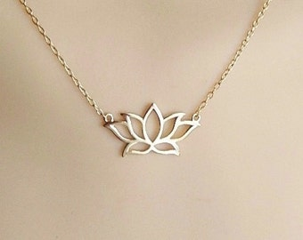 Gold Lotus Necklace Etsy