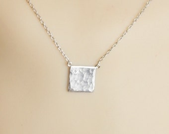 Sterling silver  textured square necklace ,.925 sterling silver