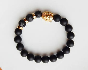 Men's stretch bracelet with 10mm matte black onyx gemstone , lava beads and gold stainless steel buddha beads, yoga bracelet, men's jewelry