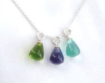 Interchangable necklace with green, blue and purple  pendants, charm necklace, blue necklace, green necklace, purple necklace